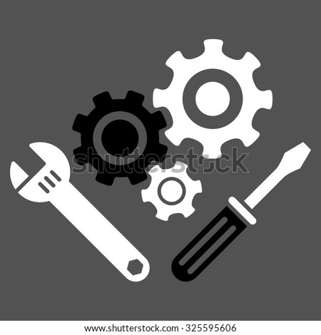 Mechanics Tools vector icon. Style is bicolor flat symbol, black and white colors, rounded angles, gray background.