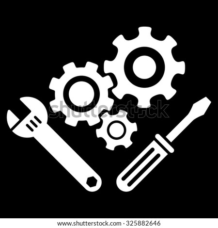 Mechanics Tools vector icon. Style is flat symbol, white color, rounded angles, black background.
