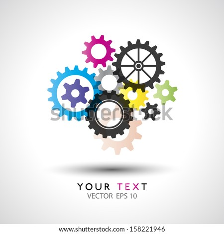 mechanism cogs gears icon in vector format - stock vector