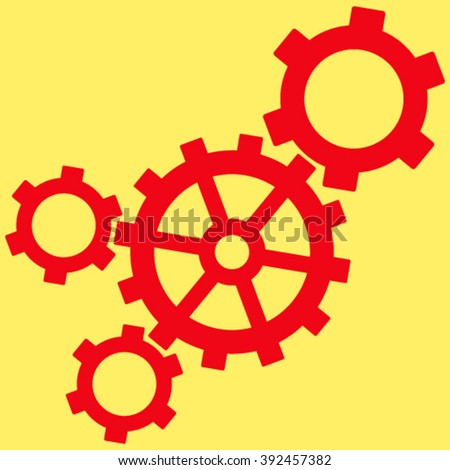 Mechanism vector icon. Image style is flat mechanism pictogram symbol drawn with red color on a yellow background. - stock vector