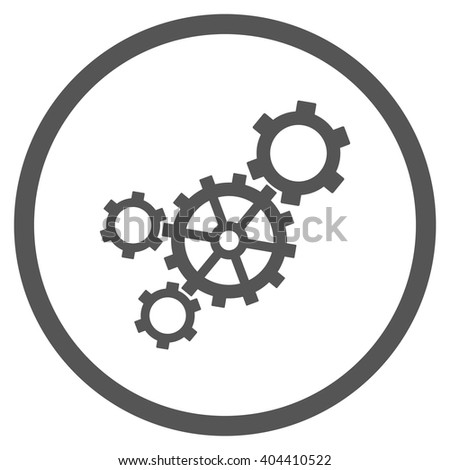 Mechanism vector icon. Picture style is flat mechanism rounded icon drawn with gray color on a white background. - stock vector