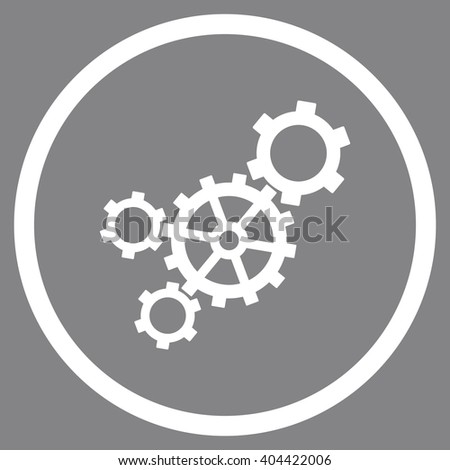 Mechanism vector icon. Picture style is flat mechanism rounded icon drawn with white color on a gray background. - stock vector