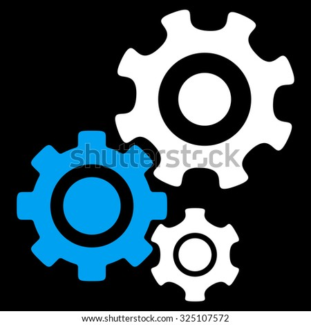Mechanism vector icon. Style is bicolor flat symbol, blue and white colors, rounded angles, black background. - stock vector
