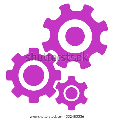 Mechanism vector icon. Style is flat symbol, violet color, rounded angles, white background. - stock vector