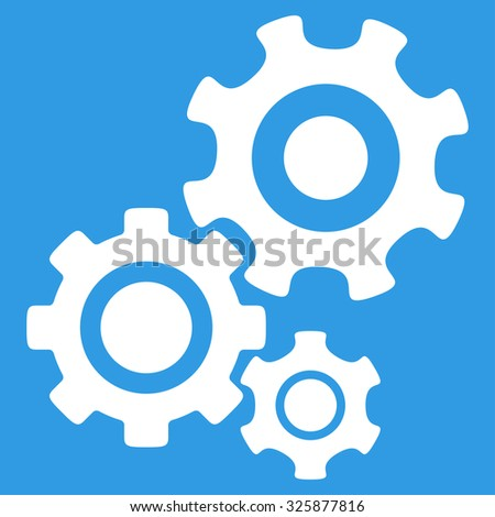 Mechanism vector icon. Style is flat symbol, white color, rounded angles, blue background. - stock vector