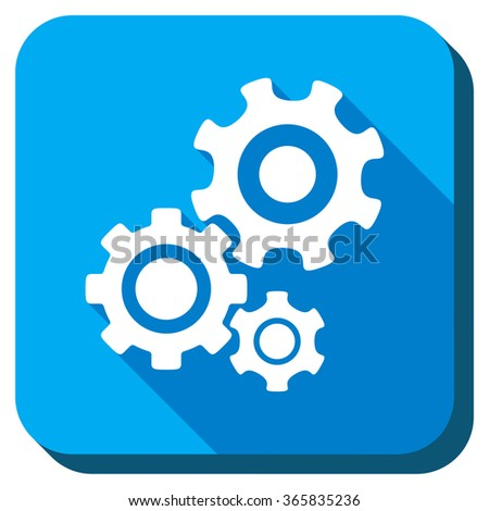 Mechanism vector icon. Style is rounded square light blue button with long shadows. Symbol color is white. - stock vector