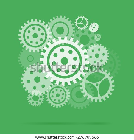 Mechanism with gears and cogs working together, idea concept. Vector illustration - stock vector