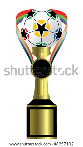medal and trophy with soccer ball