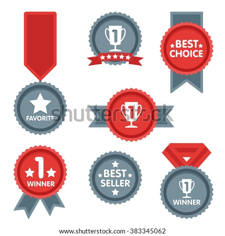 Medal and winner icon set. Blank Label of Flat Style. First place, flag, star. Best choice icon. Winner icon. Best seller icon. Medal icon. Vector label isolated on white background. Sign of victory - stock vector