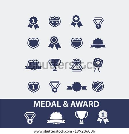 medal, award, achievement, winner, emblem icons, signs set, vector - stock vector
