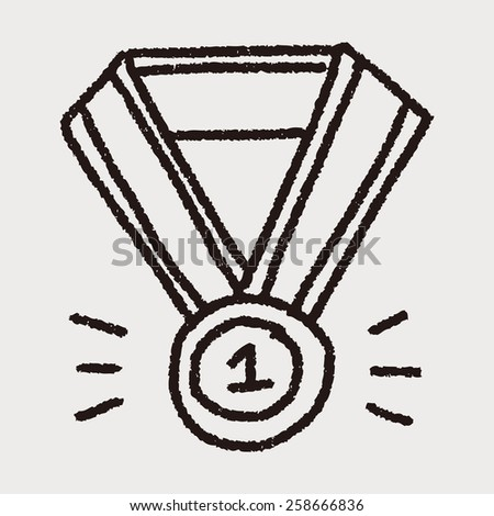 Medal doodle drawing - stock vector
