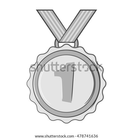 Medal for first place icon in black monochrome style isolated on white background. Sport symbol. Vector illustration
