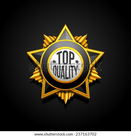 Medal Military Quality Star Stamp, Sticker, Tag, Label, Badge Sign Award Icon. On Black Background Isolated. Ready For Your Design. Vector EPS10 - stock vector
