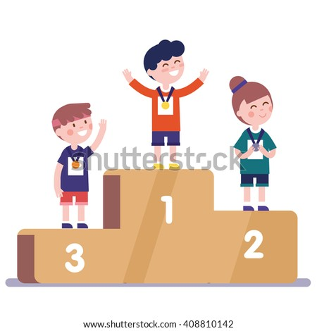 Medalists kids standing on competition winner podium with first, second and third place medals. - stock vector