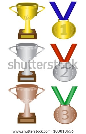 medals and trophies for first, second and third place - stock vector