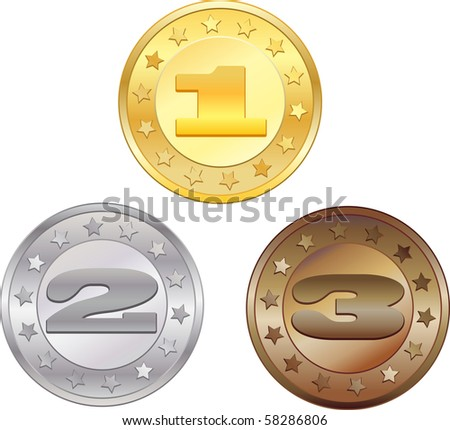Medals for first, second and third place. Vector. - stock vector