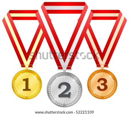 Medals on ribbons - stock vector