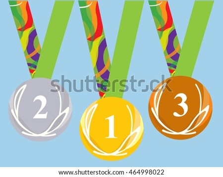 Medals on the red. isolated set. original. in the Rio. Brazil. on podium. for winners. victory. Blue sky background. Vector illustration.