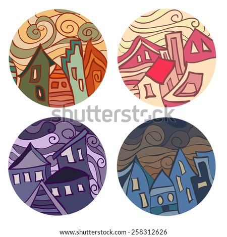 Medals with houses. Vector illustration - stock vector