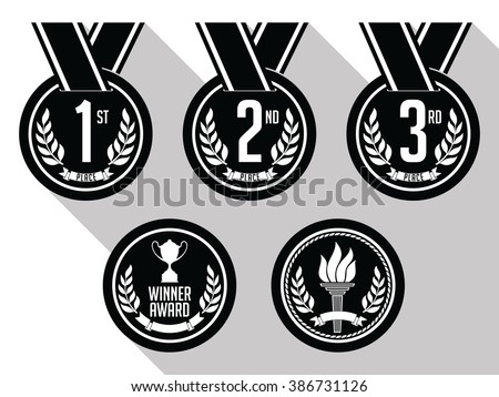 Medals with Ribbon. Flat. Set of Gold, Silver and Bronze Medals. Vector. Black and White. - stock vector