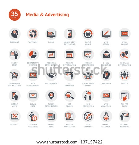 Media and Advertising icons - stock vector