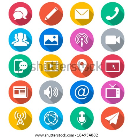 Media and communication flat color icons - stock vector