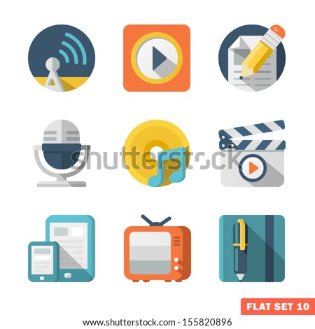 Media and Communication Flat icons - stock vector