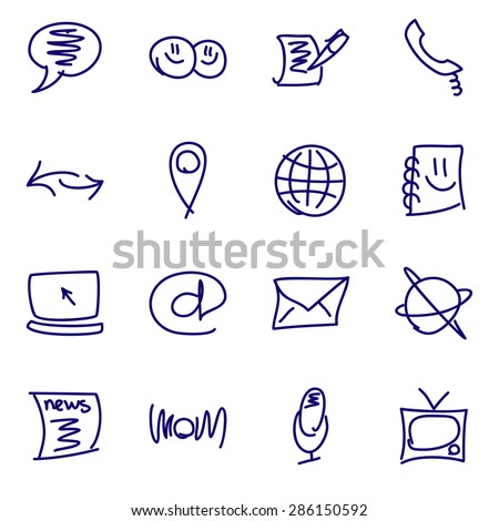 Media and communication hand drawn icons - stock vector