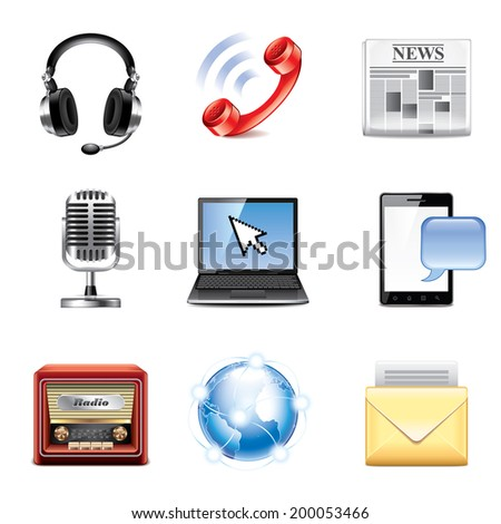 Media and communication icons photo-realistic vector set - stock vector