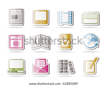 Media and information icons - Vector Icon Set - stock vector