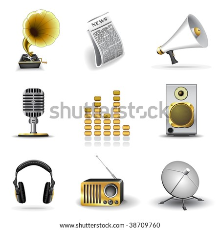 Media and music icons - stock vector