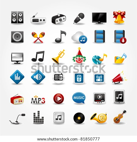 media and music icons collection - stock vector