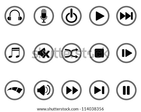 media buttons icon - stock vector