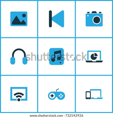 Media Colorful Icons Set. Collection Of Picture, Camera, Infographic And Other Elements. Also Includes Symbols Such As Display, Rewind, Multimedia.
