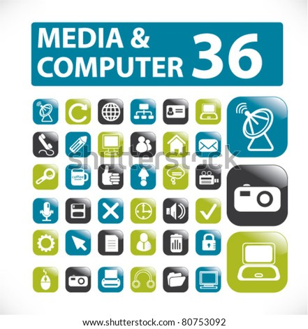 media & computer gloosy buttons, icons, signs, vector illustrations