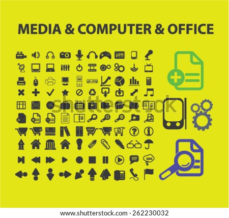 media, computer, office icons, signs, illustrations concept design set on background, vector - stock vector