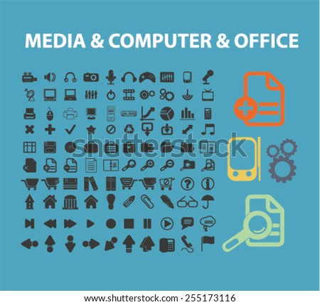 media, computer, office, settings, interface flat isolated concept design icons, symbols, illustrations on background for web and applications, vector - stock vector