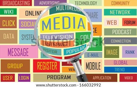 Media concept labels vector artwork  - stock vector