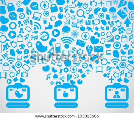 Media content going down to the computers - stock vector