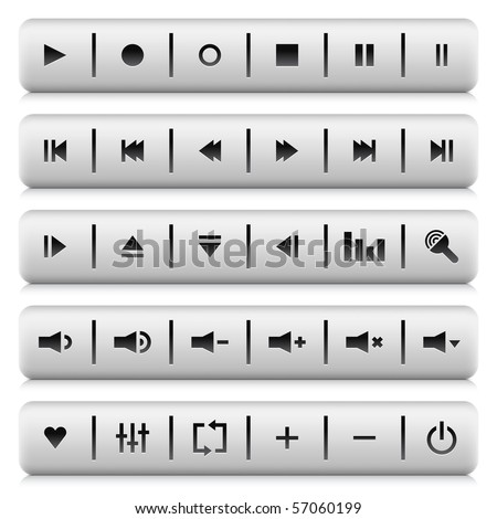 Media control web 2.0 buttons navigation panel. White stone rounded rectangle shapes with shadow and reflection on white background - stock vector