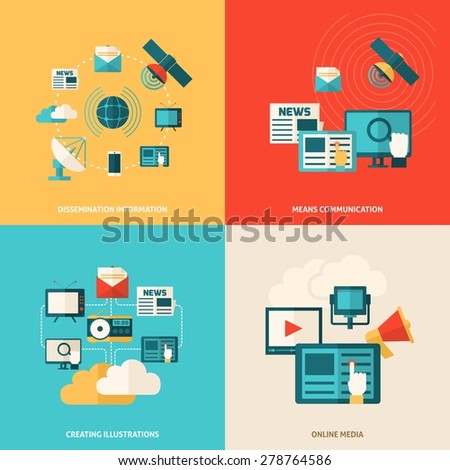 Media design concept set with social online information flat icons isolated vector illustration