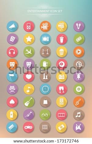 Media & Entertainment buttons,Colorful version,vector - stock vector