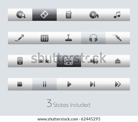 Media & Entertainment // Classic Series +++ It includes 3 buttons states in different layers. +++ - stock vector