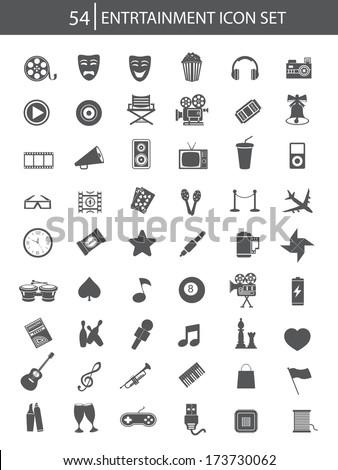 Media & Entertainment icons,Dark version,vector - stock vector