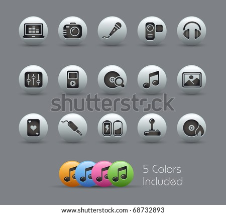 Media & Entertainment // Pearly Series -------It includes 5 color versions for each icon in different layers --------- - stock vector