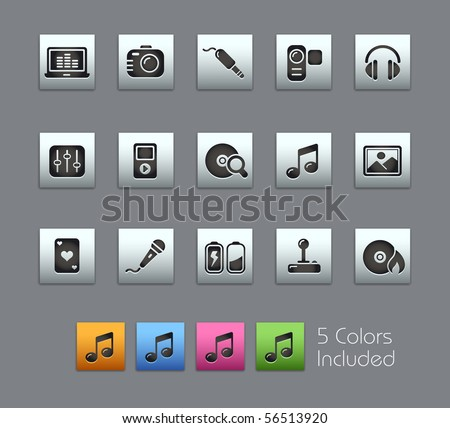 Media & Entertainment  // Satinbox Series -------It includes 5 color versions for each icon in different layers --------- - stock vector