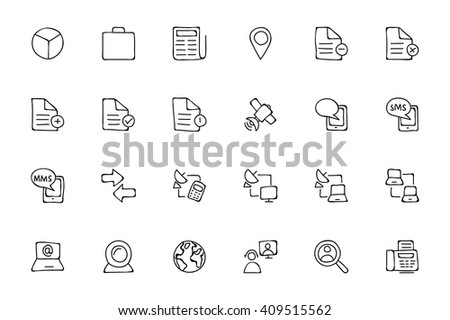 Media Hand Drawn Doodle Icons 5 - stock vector