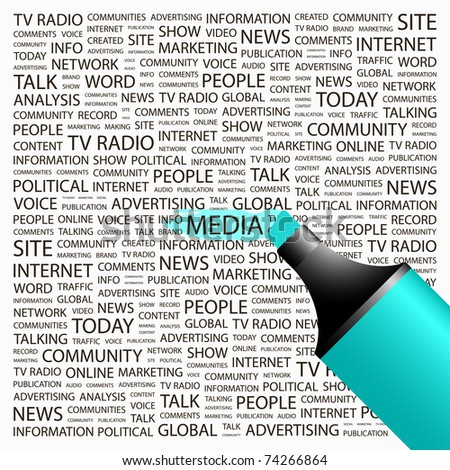MEDIA. Highlighter over background with different association terms. Vector illustration. - stock vector