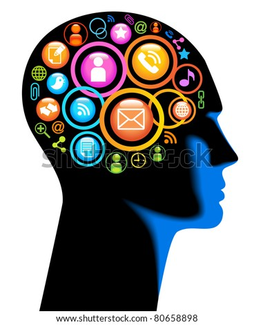 Media-Human-mobile.The development of global communications. Communication in mobile and internet networks - stock vector