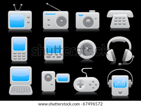Media icon set on black background. Vector - stock vector